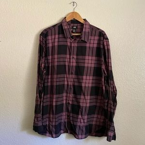 Pink and black checkered button up shirt